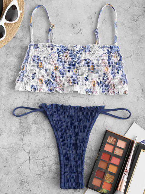 Costume da Bagno Bikini Floreale di ZAFUL - Profondo blu S Mobile