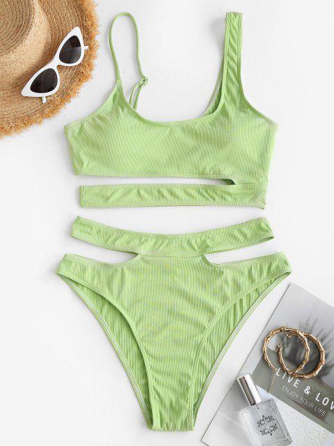 womens ZAFUL Ribbed Cutout Underboob Tankini Swimwear - LIGHT GREEN L Mobile