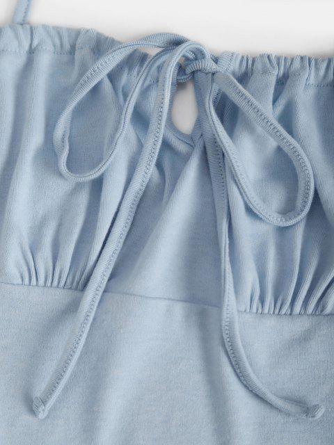 T-shirt Corset à Encolure Fendue à Cordon de Serrage avec Jupe Moulante - Bleu clair S Mobile