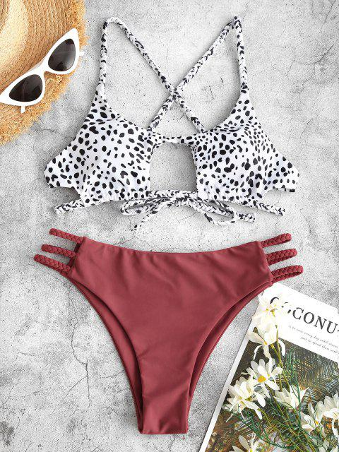 Bikini de Criss Cross con Correa Trenzada de Ojo de Cerradura de Leopardo ZAFUL - Negro M Mobile