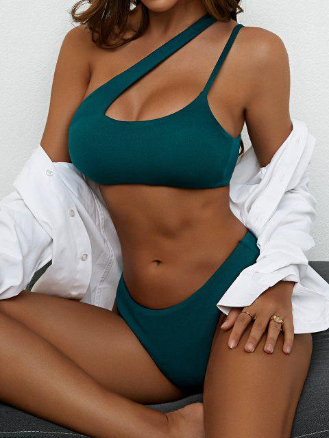 fancy ZAFUL Cut Out High Cut One Shoulder Bikini Swimwear - DEEP GREEN M Mobile