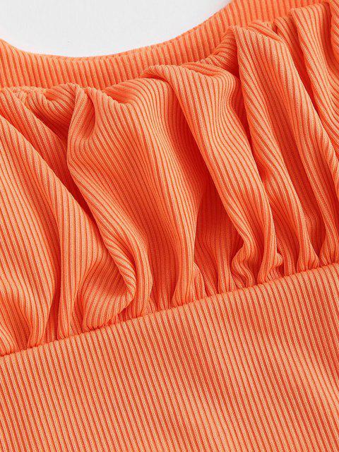 ZAFUL Maillot de Bain Tankini Carré Côtelé à Volants - Orange S Mobile
