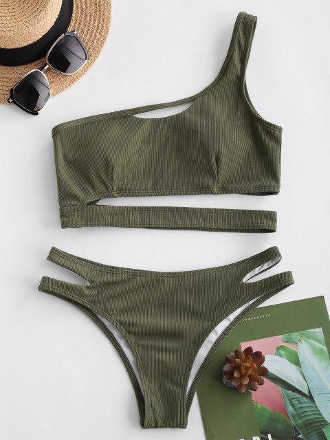 shops ZAFUL Ribbed One Shoulder Underboob Bikini Swimwear - GREEN L Mobile