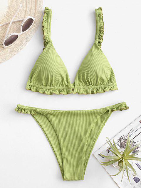 Costume da Bagno Bikini a Costine con Volant di ZAFUL a Taglio Alto - Verde chiaro L Mobile