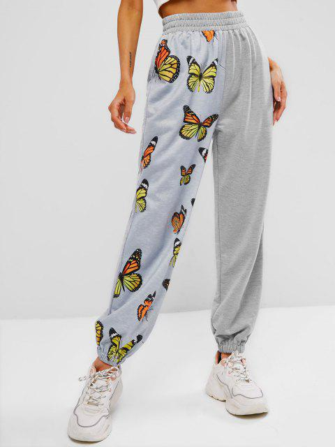 unique ZAFUL High Waisted Butterfly Print Elastic Cuff Pants - LIGHT GRAY L Mobile