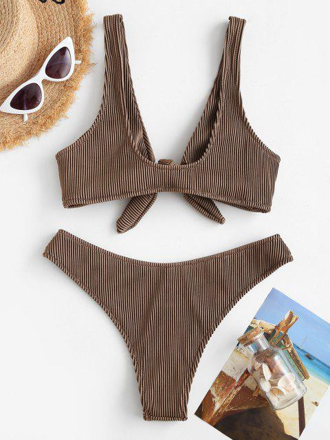 Bikini de Canalé con Textura Acanalada - café M Mobile