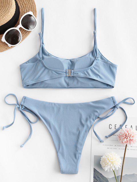 ZAFUL Maillot de Bain Bikini Côtelé Noué à Côté à Bretelle - Bleu S Mobile