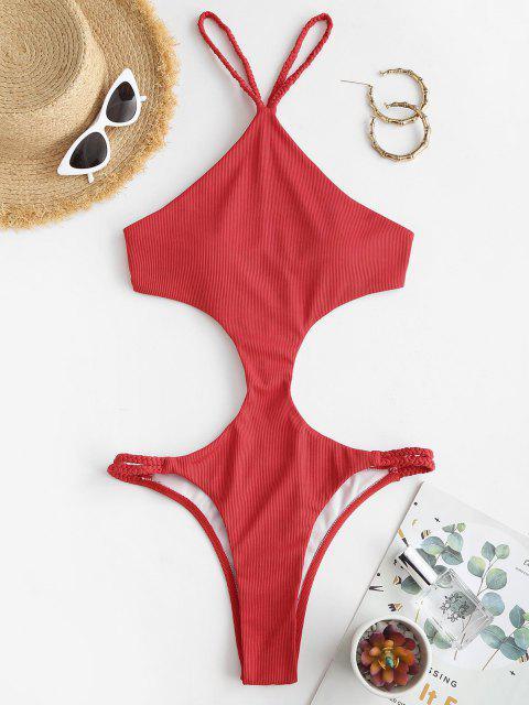 fashion ZAFUL Plaited Crisscross Ribbed Trikini Swimsuit - RED S Mobile