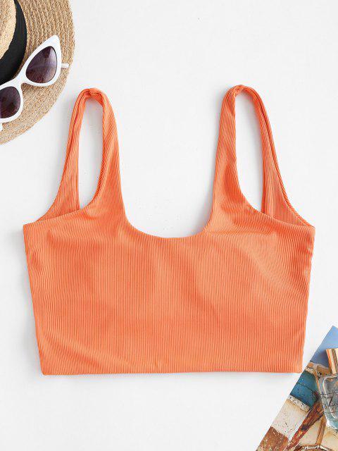 ZAFUL Square Ruched Ribbed Bikini Top - البرتقالي S Mobile