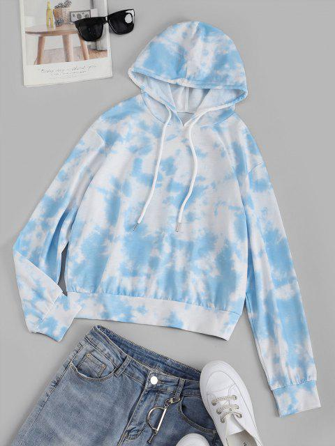 online Tie Dye Butterfly Letter Graphic Drawstring Hoodie - LIGHT BLUE L Mobile