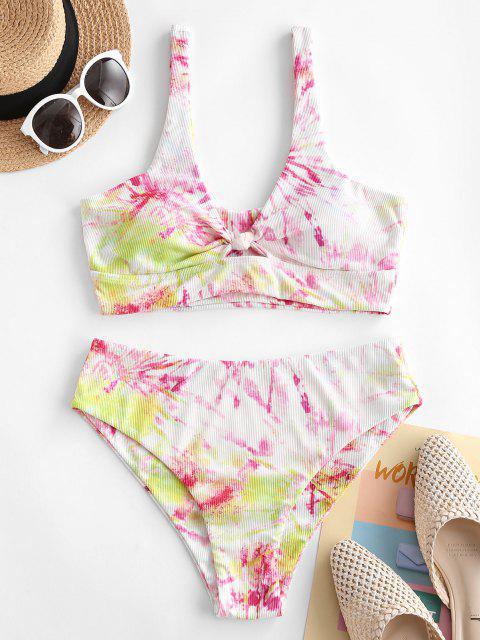 lady ZAFUL Tie Dye Knot Fuller Bust Ribbed Tankini Swimwear - MULTI M Mobile