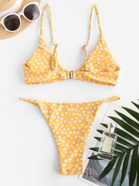 women's ZAFUL Ditsy Print O Ring String Bikini Swimwear - YELLOW L Mobile
