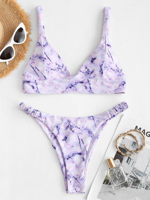 ZAFUL Maillot de Bain Bikini Bandeau Marbre Imprimé à Bretelle à Volants - Violet clair L Mobile