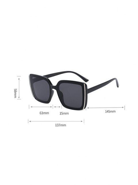 trendy Stripe Design Square Oversized Sunglasses - JET BLACK  Mobile