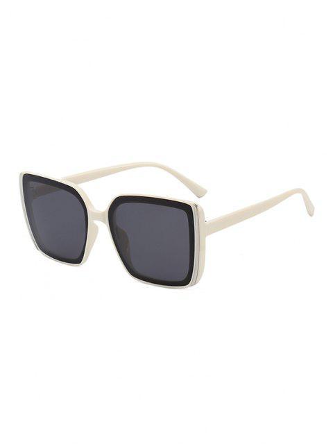 fashion Stripe Design Square Oversized Sunglasses - BEIGE  Mobile