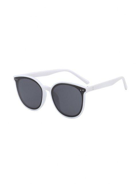 アンチUVユニセックスラウンドサングラス - 白  Mobile
