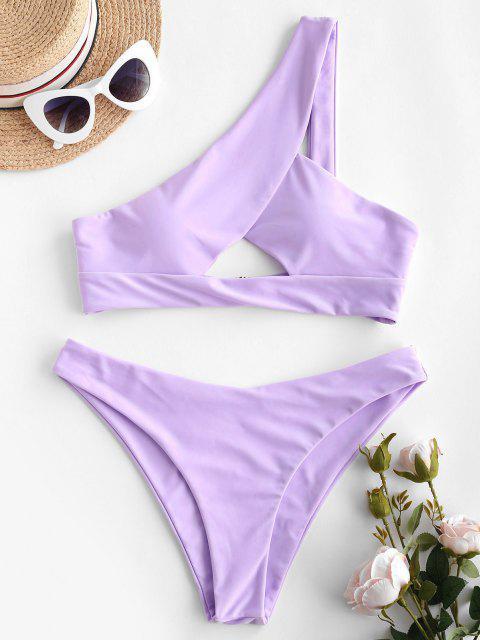 fancy ZAFUL One Shoulder Keyhole Bikini Swimwear - LIGHT PURPLE M Mobile