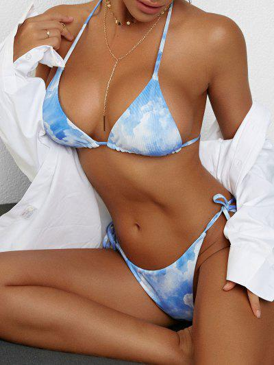 ZAFUL Cloud And Sky Print Ribbed Tie String Bikini Swimwear - Light Blue M