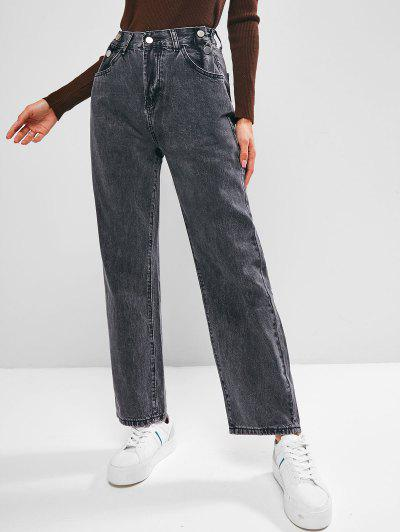 Buttons High Waisted Wide Leg Jeans - Black L