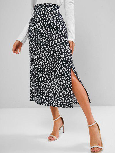 Leopard Animal Print Slit A Line Skirt - Black S