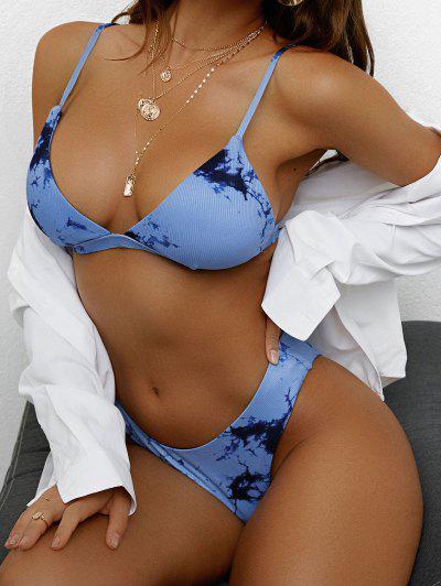 ZAFUL Krawattenfärbender Gerippte Bikini Badebekleidung Mit Hohem Bein - Blau S
