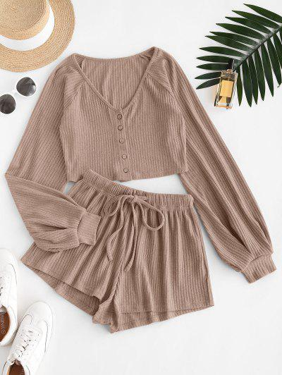 Ribbed Knit Two Piece Shorts Set - Camel Brown S
