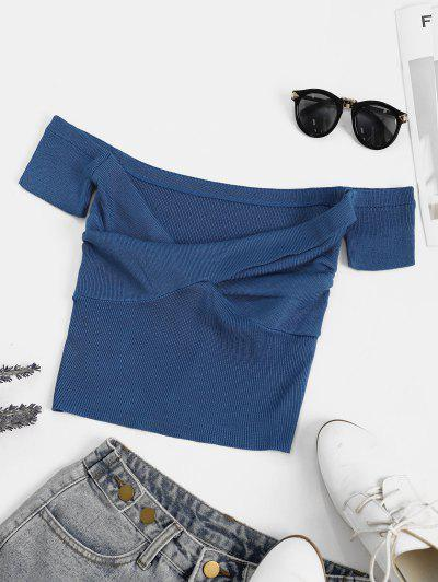 Off Shoulder Knitted Twisted Crop T-shirt - Blue