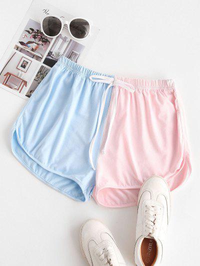Shorts De Ejercicio De Dos Tonos Con Lazo De Cintura - Azul Claro L