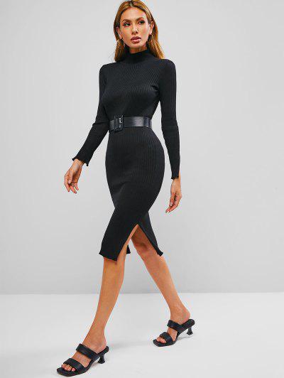 Side Slit Mock Neck Midi Sweater Dress - Black