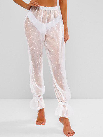 Chiffon Swiss Dot Drawstring Beach Cover-up Pants - White