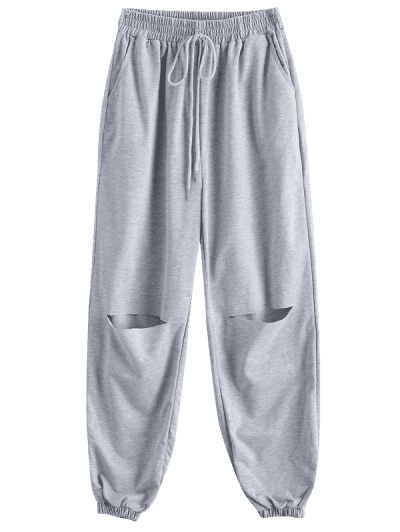 French Terry Grunge Cutout Tie Pocket Pull-on Sweatpants