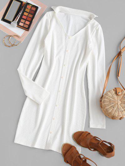 Ribbed Mock Button Bodycon Dress - White S
