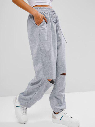 French Terry Grunge Cutout Tie Pocket Pull-on Sweatpants - Light Gray M