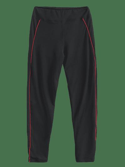 Contrast Binding Topstitch Workout Gym Leggings