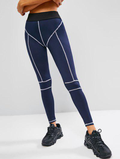 Topstitch Contrast High Waisted Gym Leggings - Deep Blue M