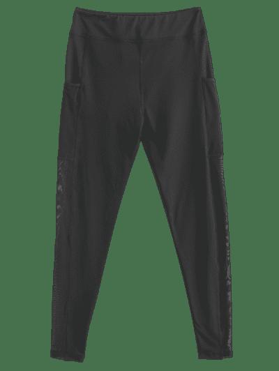Pocket Mesh Panel Sheer Yoga Gym Leggings