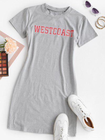 Letter Graphic Bodycon Tee Dress - Gray Xl