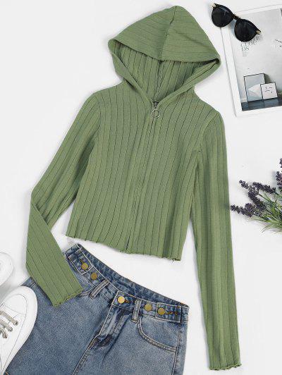 Hooded Pull Ring Zip Slim Cardigan - Camouflage Green