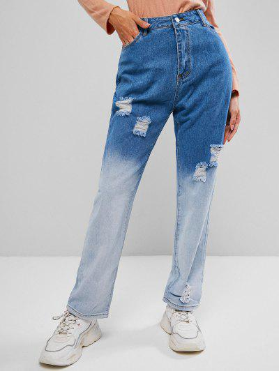 Distressed Two Tone Straight Jeans - Lapis Blue Xs