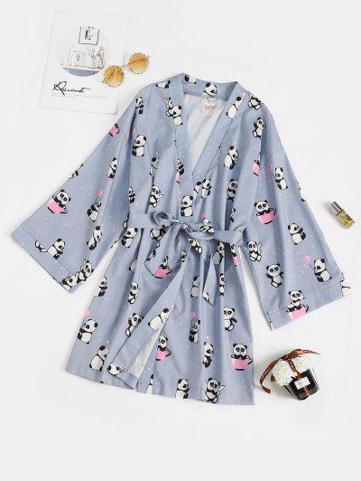 Belted Funny Panda Star Print Sleep Robe - Light Blue M