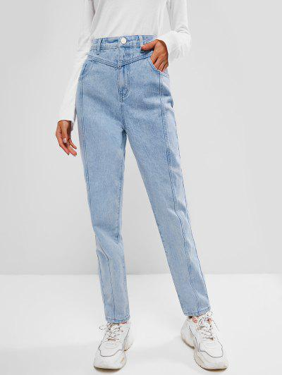 Light Wash Seam Detail Pocket Mum Jeans - Light Blue M