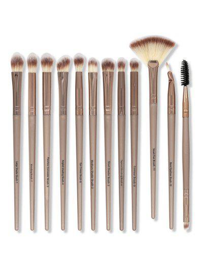 12Pcs Portable Eye Makeup Brushes Set - Brown