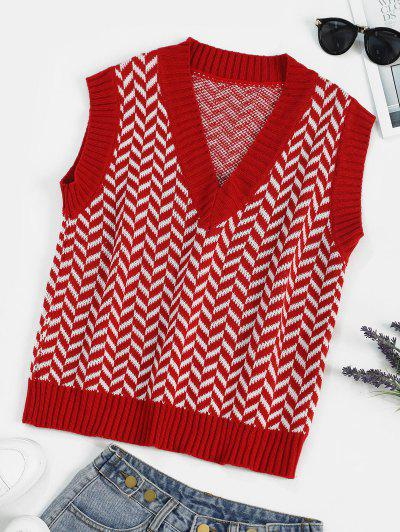 Preppy Geometric Graphic Vest Sweater - Red
