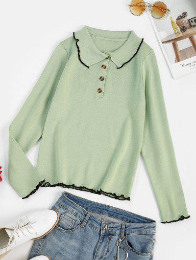 Binding Lettuce Trim Henley Knit Sweater - Light Green