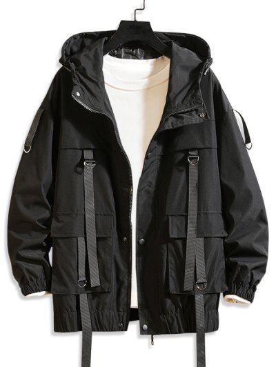 Hooded D-ring Strap Cargo Jacket - Black 3xl