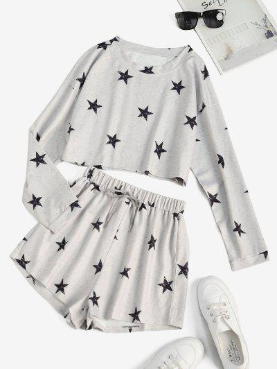 Star Heathered Cropped Sweat Two Piece Set - Gray Cloud S