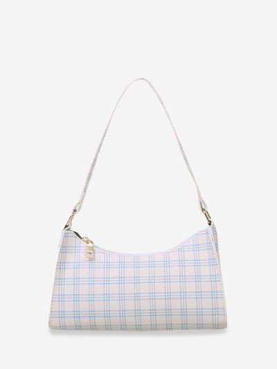 Rectangle Plaid Pattern Shoulder Bag - White