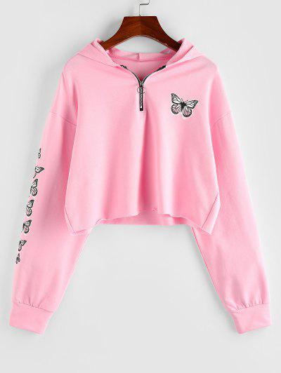 ZAFUL Half Zip Butterfly Print Cropped Hoodie - Light Pink L
