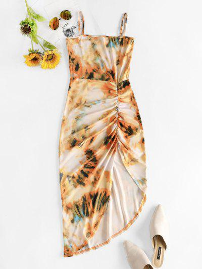 Asymmetric Tie Dye Ruched Bodycon Dress - Goldenrod S