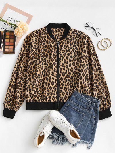 Chaqueta Zipper A Estampado Animal Leopardo - Leopardo M